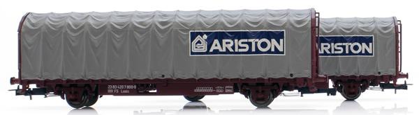 Rivarossi HR6464 - 2pc tarpaulin wagon ARISTON and INDESIT Set