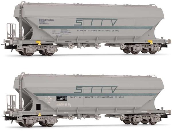 "Rivarossi HR6472 - 2pc 4-axle flat-sided hopper wagon ""STIV"" Set"