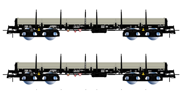 Rivarossi HR6477 - 2pc 4-axle stake wagons type Remms, loaded with gas pipes thyssenkrupp