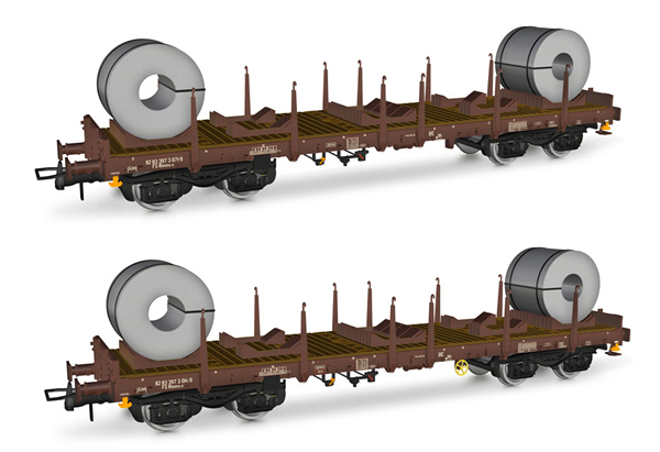 Rivarossi HR6478 - 2pc Rhmms-x flat wagons, loaded with coils