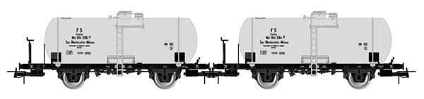 Rivarossi HR6519 - 2-unit set of 2-axle tank wagons Md, 27 m3 tank, Montecatini