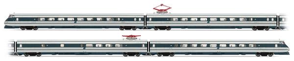 "Rivarossi HRS2512 - FS, set of 4 units ETR 401 ""Pendolino"" in silver/blue livery, squared logo"