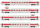 Italian 4-unit electric railcar ETR 450 Pendolino of the FS; in white/red livery