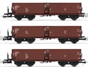 3-unit set self-discharging wagons without top box, DR, period IV a, livery brown