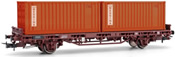 2-axle flat car Kgps without sideboards, loaded with two 20´ containers MESSINA