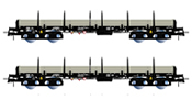 2pc 4-axle stake wagons type Remms, loaded with gas pipes thyssenkrupp