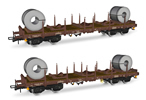 2pc Rhmms-x flat wagons, loaded with coils
