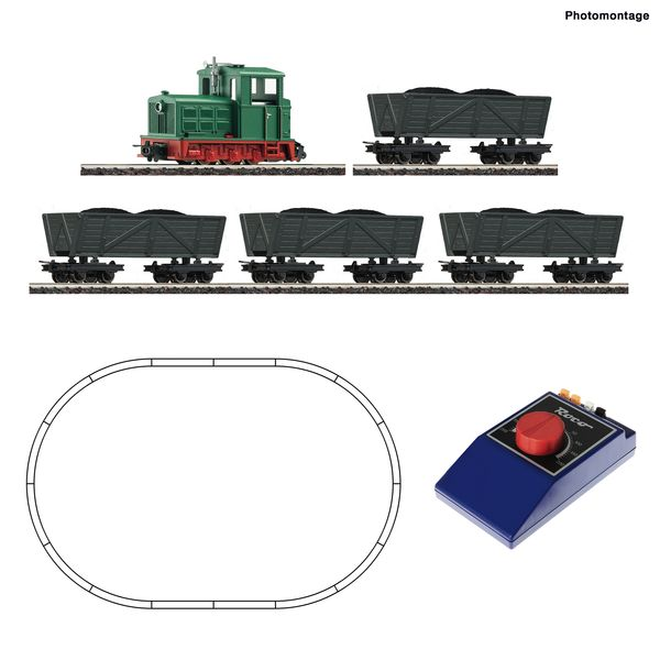 Roco 31034 - H0e Analogue Starter Set: Light railway steam locomotive with tipper wagon train.