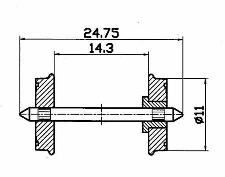 Roco 40264 - Whlst 11mm dia ins-1sd 2/