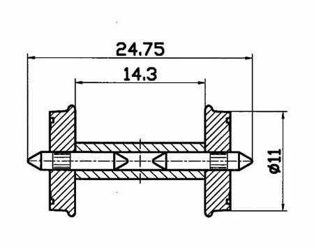 Roco 40267 - Whlst 11mm dia split ax2/