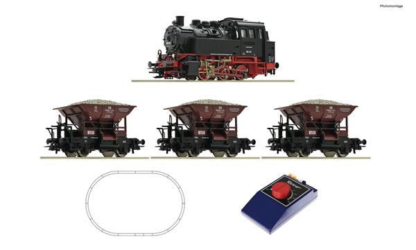 Roco 51159 - Analogue Start Set: Steam locomotive class 80 with wagon train