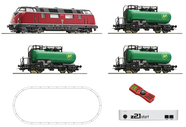 Roco 51290 - German Digital Starter Set z21 with Diesel Locomotive BR 220 and Tank Car Train of the DB