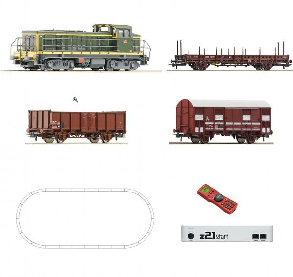 Roco 51300 - Digital z21® start Set: Diesel locomotive BB63000 with freight train of the SNCF