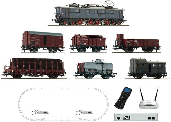 Roco 51323 - Digital Starter Set z21: Electric Locomotive Class E 52 and goods train of the DRG