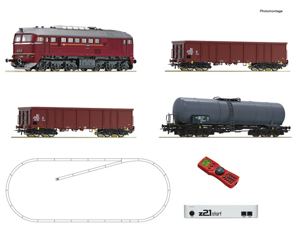 Roco 51331 - z21 start digital set: German Diesel locomotive class 120 with goods train of the DR
