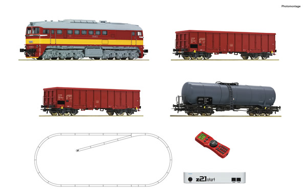 Roco 51332 - z21 start digital set: Czech Diesel locomotive T679.1 with goods train of the CSD