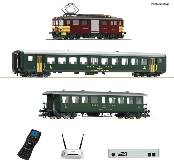 Roco 51339 - z21 digital set: Swiss Electric luggage railcar De 4/4 with passenger train of the SBB (Sound)