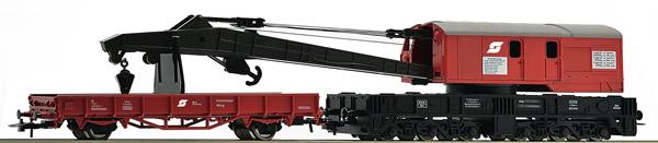 Roco 56239 - Austrian Crane Wagon and Barrier Wagon of the OBB