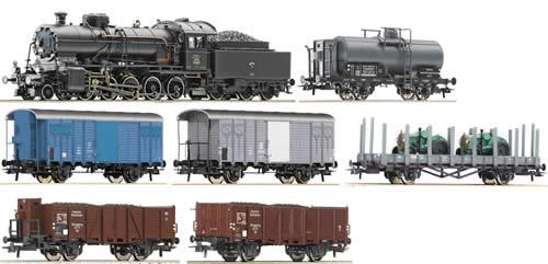 Roco 61420 - Swiss Steam locomotive Class  C5/6 with  Swiss Freight Cars