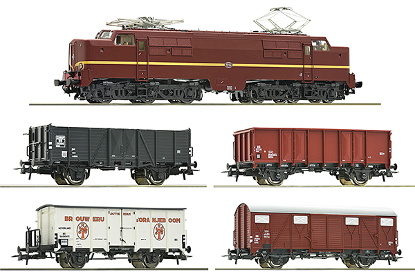 Roco 61459 - 5 piece set: Electric locomotive 1224 with freight train, NS