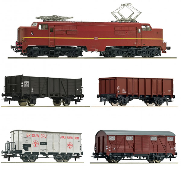 Roco 61460 - 5 piece set: Electric locomotive 1224 with freight train, NS