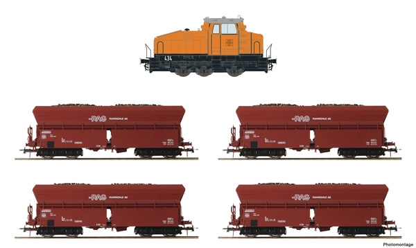 Roco 61467 - German Diesel locomotive DHG 500 with 5 self-unloading wagons