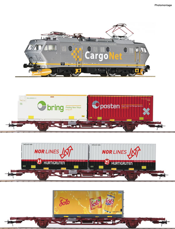 Roco 61487 - 4 piece set: Norwegian Electric locomotive EL 16 with goods train (DCC Sound Decoder)