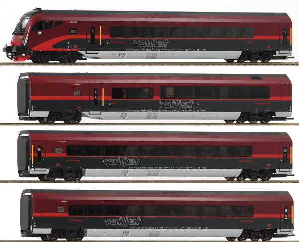 Roco 64188 - Austrian 4pc Railjet Set of the OBB - DC