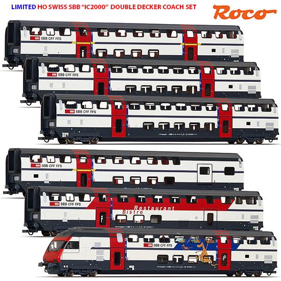Roco 64850-1 - Swiss SBB IC2000 Double Decker Coach Set