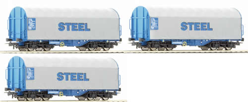 Roco 66145 - 3 Piece Set: Telescopic Hood Wagons
