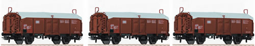 Roco 66153 - 3 Piece Set: Sliding Roof Freight Wagons