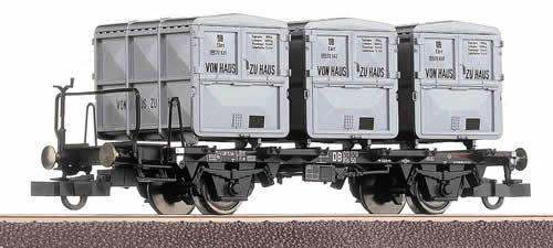 Roco 66267 - German 2 Axle Container Car Von Haus zu Haus of the DB