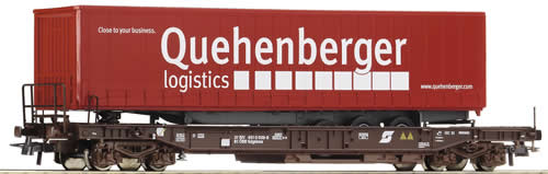 Roco 66975 - Flat Car w/ Container Quehenberger Logistics