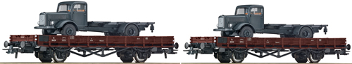 Roco 67035 - 2-piece set stake wagon, DSB