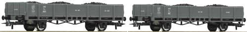 Roco 67040 - 2-Piece Set: Gondolas with Coal Cargo