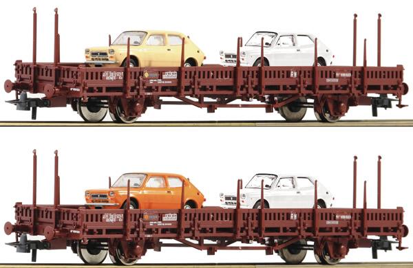 Roco 67086 - 2 piece set: Stake wagons, RENFE