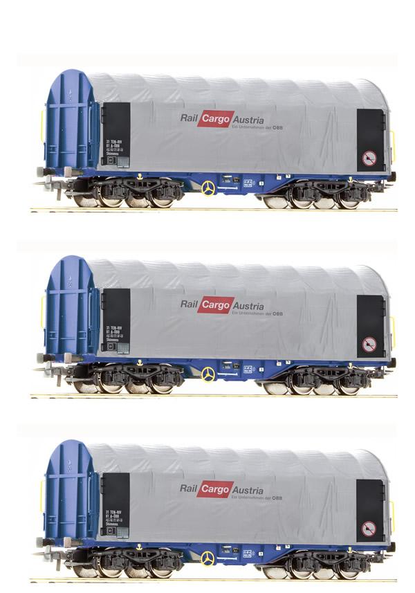 Roco 67155 - Austrian 3 Piece Tarp Covered Goods Wagon Rail Cargo Austria of the OBB