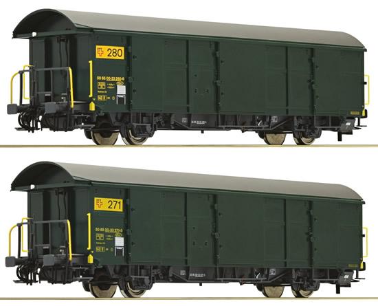 Roco 67185 - 2pc Postal Wagon Set, SBB