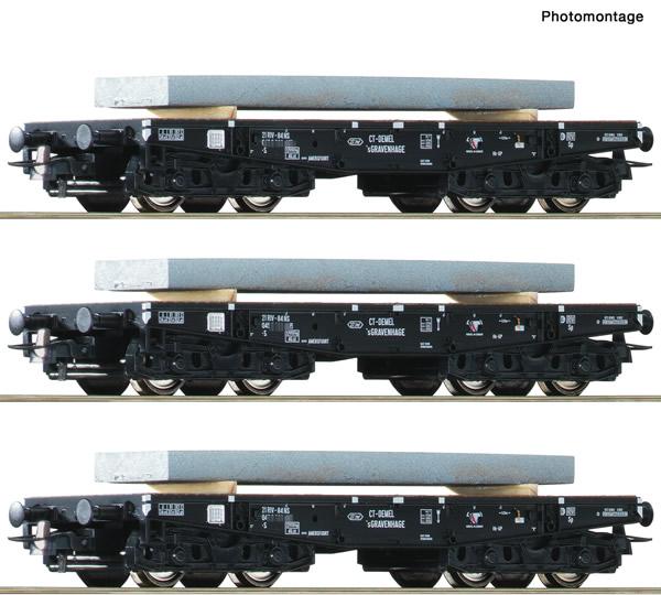 Roco 67194 - Dutch Heavy duty flat wagon Set of the NS