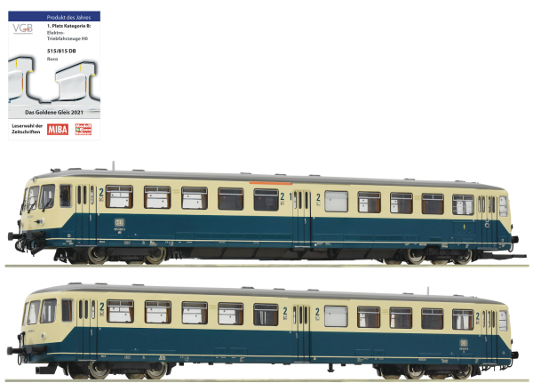 Roco 72082 - German Accu Railcar Class 515 and control cab car of the DB