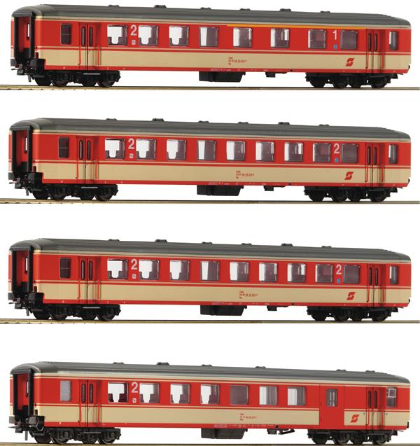 Roco 74130 - 4 piece Passenger Coach Set: Schlieren