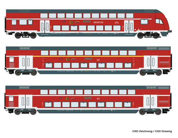 Roco 74146 - 3 piece set: Double-deck coaches