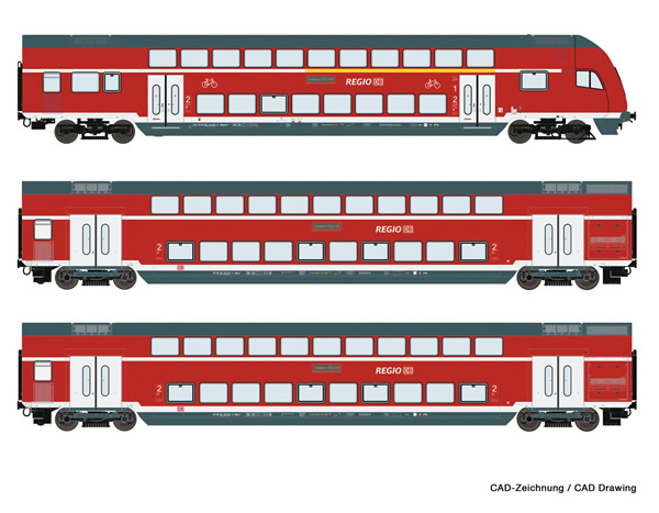 Roco 74147 - 3 piece set: Double-deck coaches