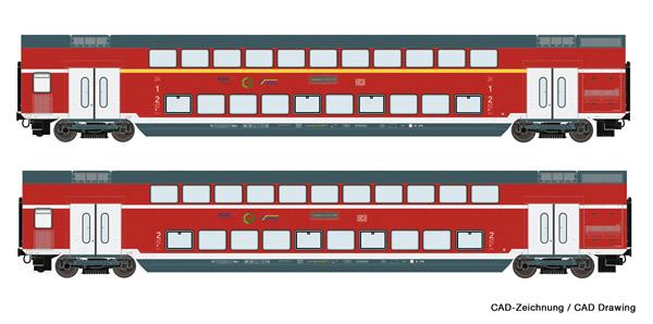 Roco 74148 - 2 piece set: Double-deck coaches