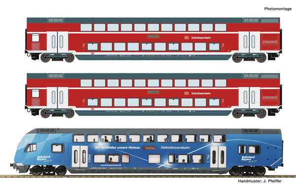 Roco 74156 - 3 piece set: Double-deck coaches