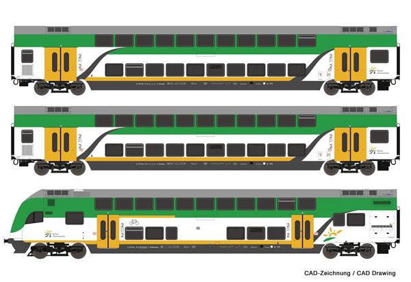 Roco 74160 - 3 piece set: Double-deck coaches