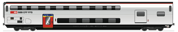 Roco 74494 - 1st class/luggage double  deck coach, SBB
