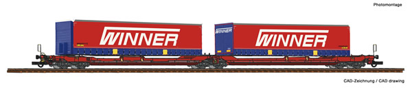 Roco 75888 - Articulated double pocket wagon T3000e + Winner Trailer #2 Display 75886