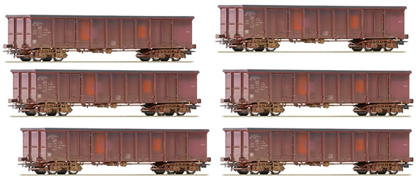 Roco 75975 - German Set of 6 Open Goods Wagon Set (Weathered) of the DB-AG