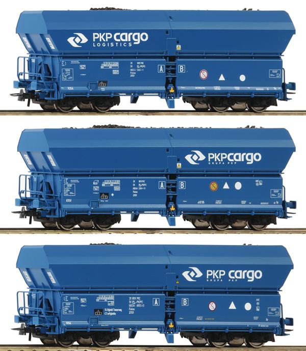 Roco 76046 - 3 piece set: Self-unloading Hopper Wagons